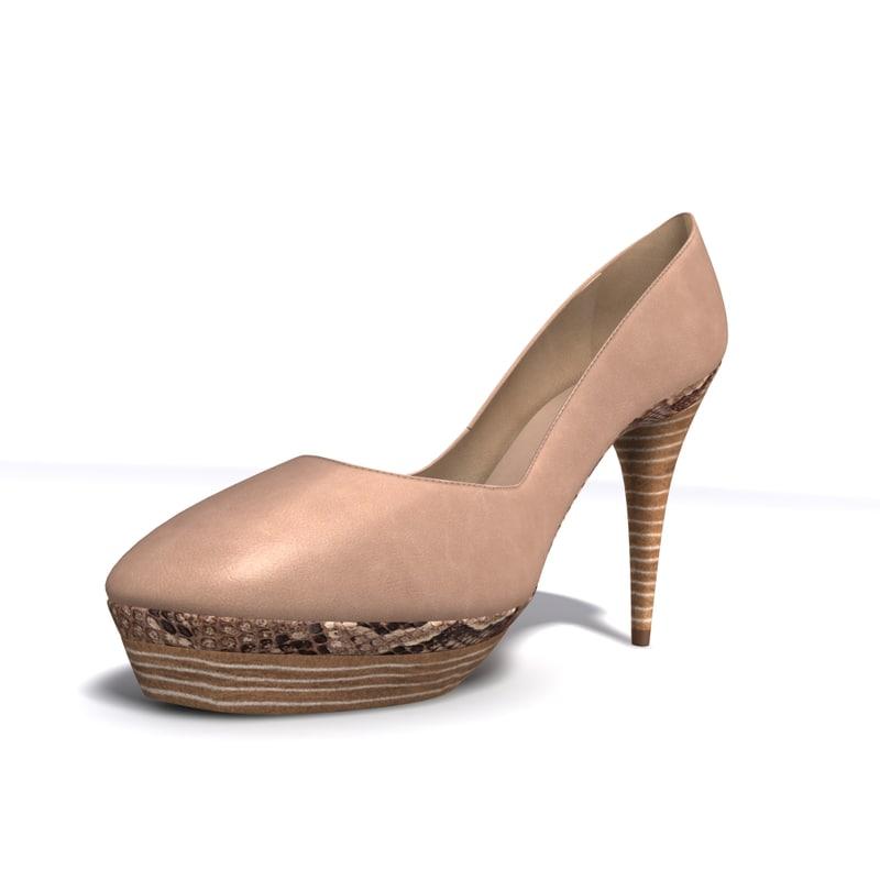 3d leather heels model