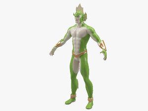 3d fish man model