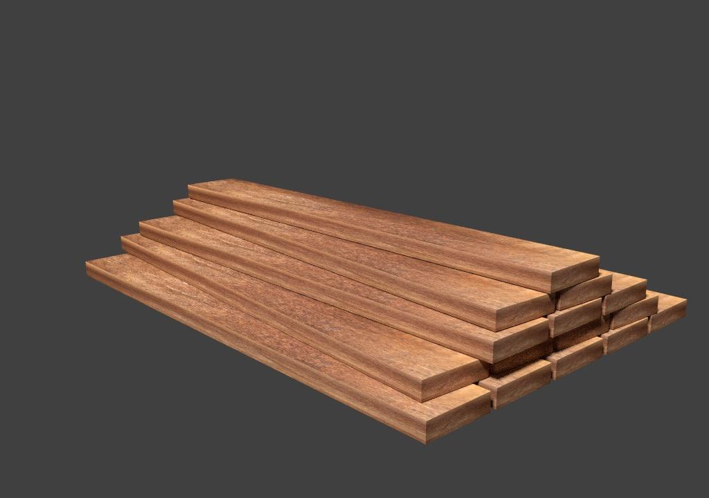 3d model asset stack planks