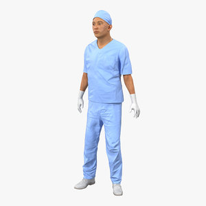 3ds max male surgeon asian rigged