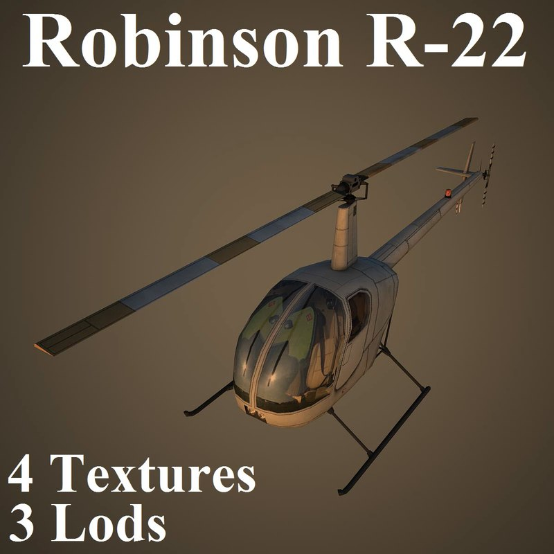 3d robinson low-poly helicopter