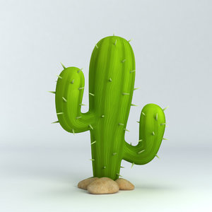 obj cactus cartoon