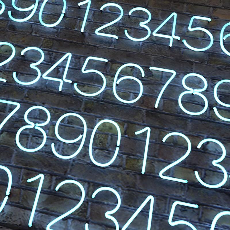 3d model neon numbers alphabet