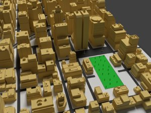 3d large city buildings