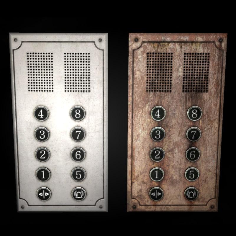 3d model elevator button