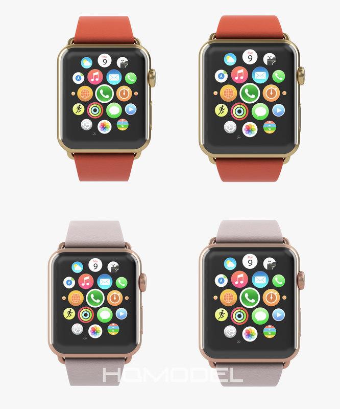 3d model apple watch edition yellow