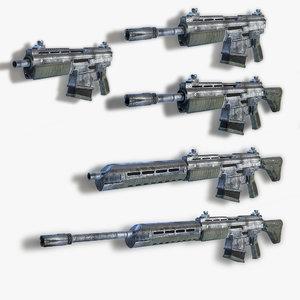 set sci-fi assault rifles 3d 3ds
