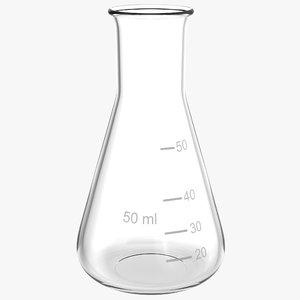 3d 50 ml erlenmeyer flask model