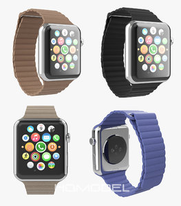 3d apple watch stainless steel