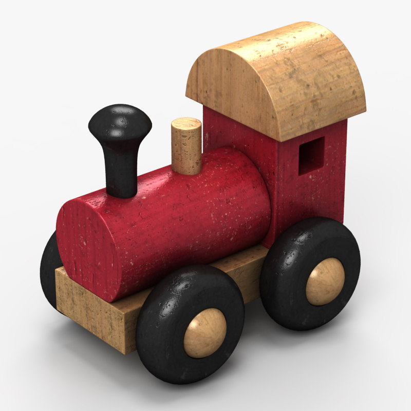 3d model wooden train toy