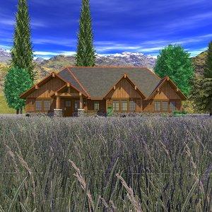 3d model craftsman house scene