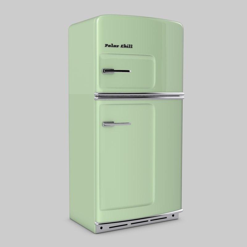 retro refrigerator c4d