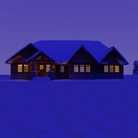 wooden craftsman house night 3d model