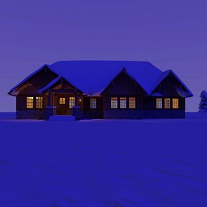 wooden craftsman house night 3d model