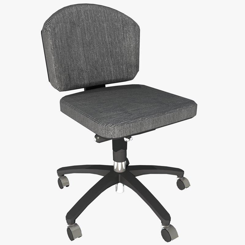 armless office chair 2 3d model