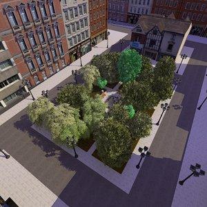 3d model town park square