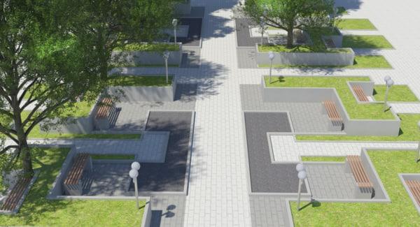 park landscaping 3d 3ds