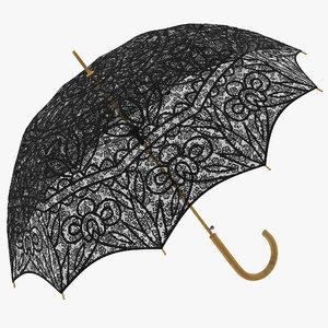 parasol umbrella black c4d