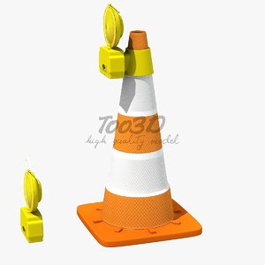 3d orange safety cone lamp model