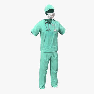 3d model surgeon dress 18 blood