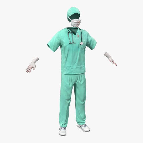 3d surgeon dress 17 blood model