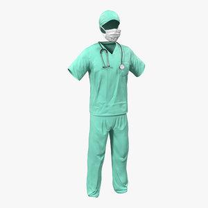 3d surgeon dress 18 modeled model