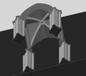 cross vault chartres cathedral 3d dwg