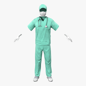 surgeon dress 17 modeled 3d model