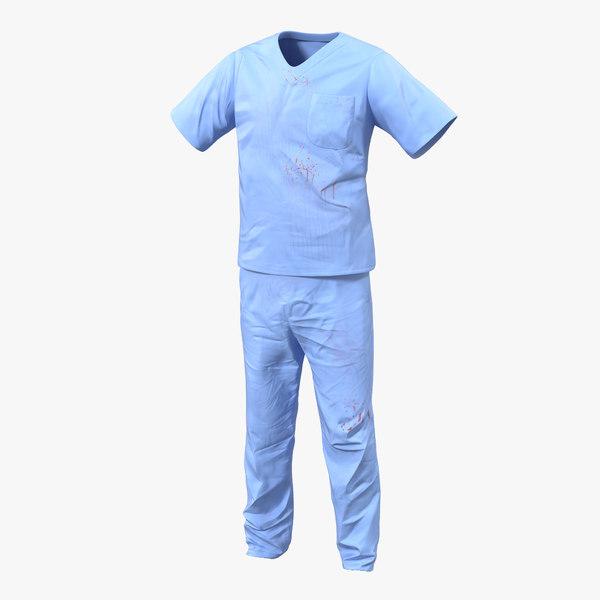 3d model surgeon dress 15 blood