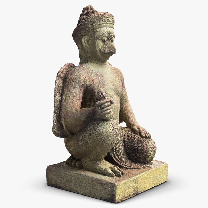 3d model of sculpture cambodia demon 1