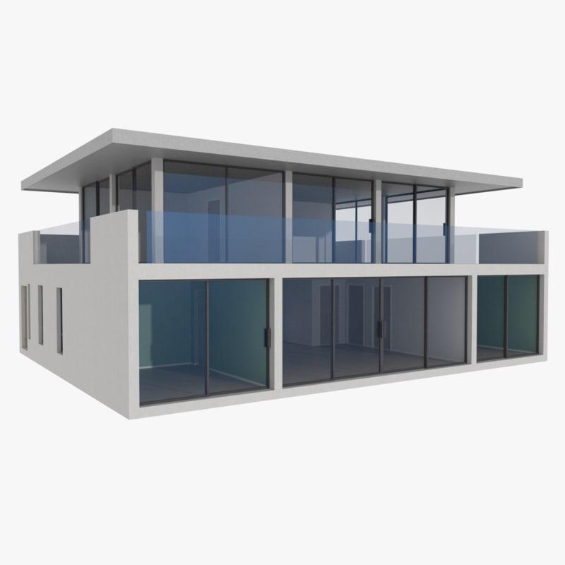 3d modernist house interior model