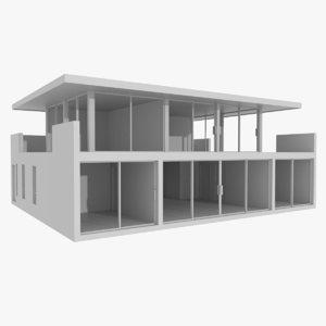 3d modernist house interior