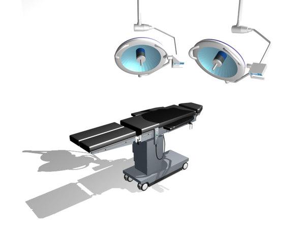 3d surgery table lights model