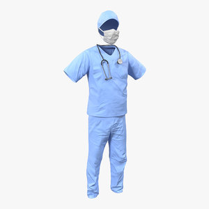 3d surgeon dress 14 modeled model