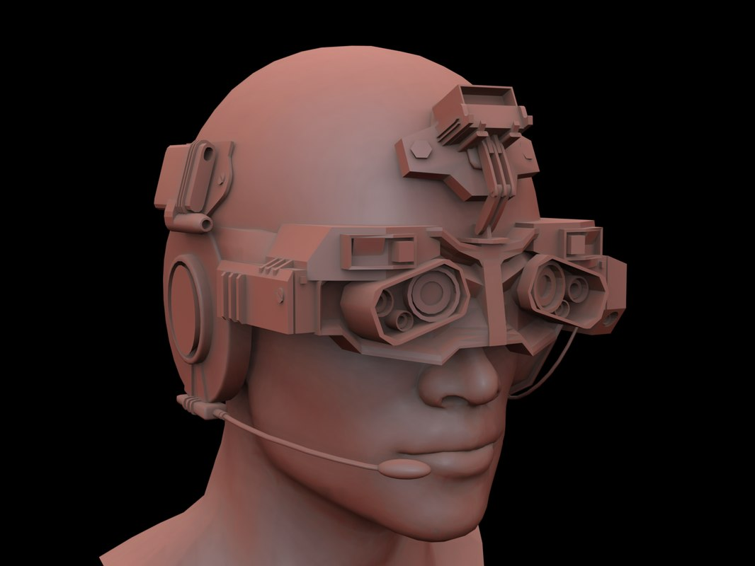 3d model futuristic head military