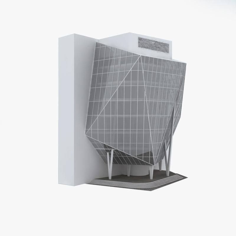 modern office building 3d model