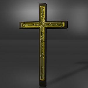 3d gold cross model
