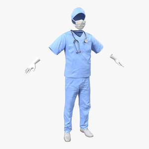 3d surgeon dress 13 modeled model