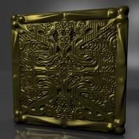 gold square 3d c4d