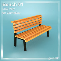 Bench Low Poly for Game Dev