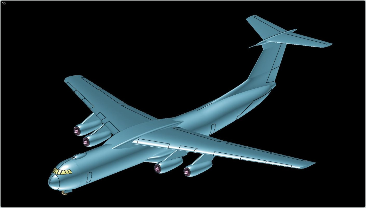 3d lockheed transport aircraft solid model