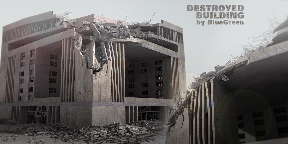 destroyed building 3d c4d