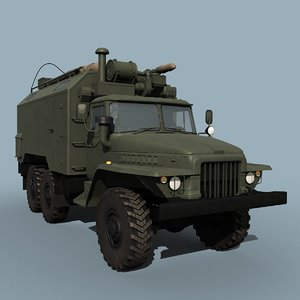 3d ural-375a command vehicle model