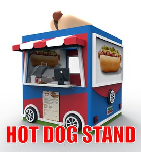 3d model stand hot dog