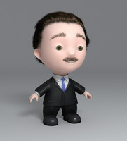 business man toon 3d max