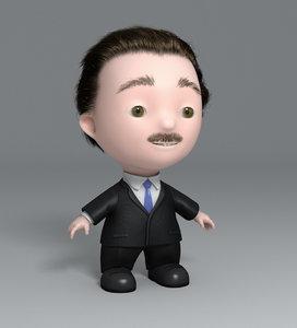 business man toon 3d max