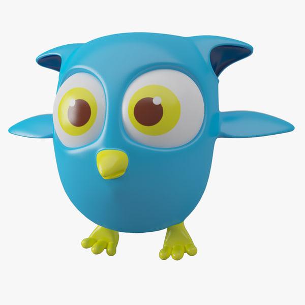 owl cartoon toon 3d 3ds