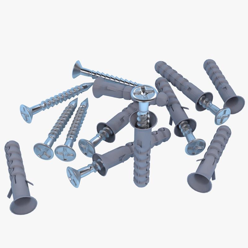 3d model of screw dowel
