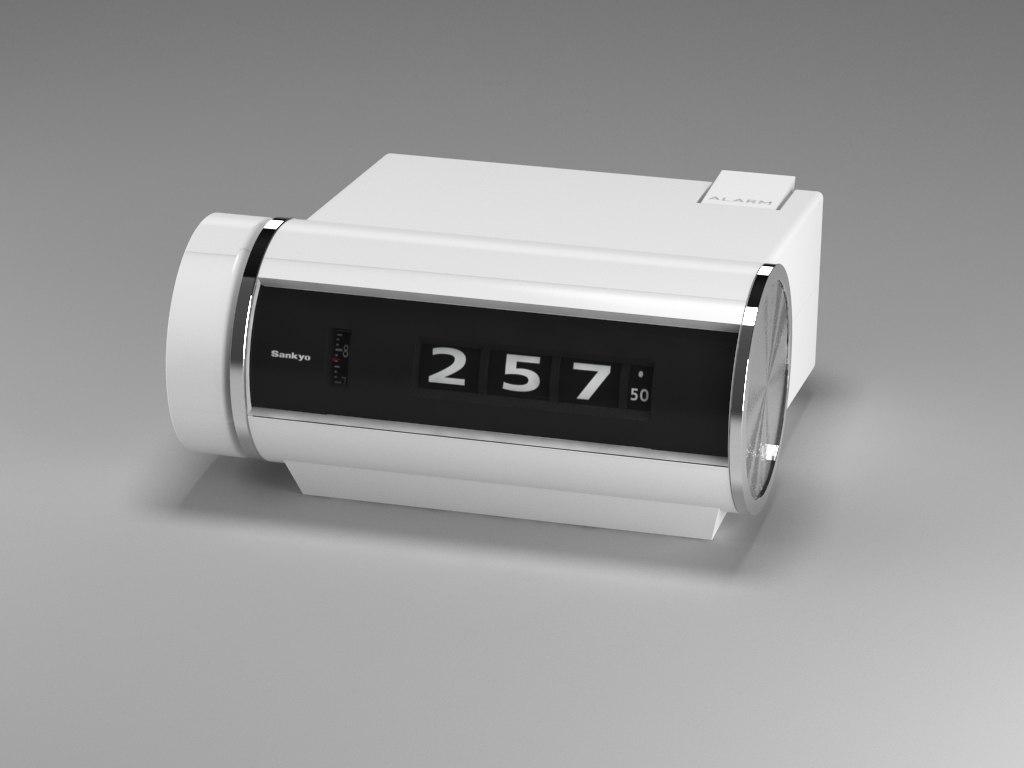 3d vintage flip clock model
