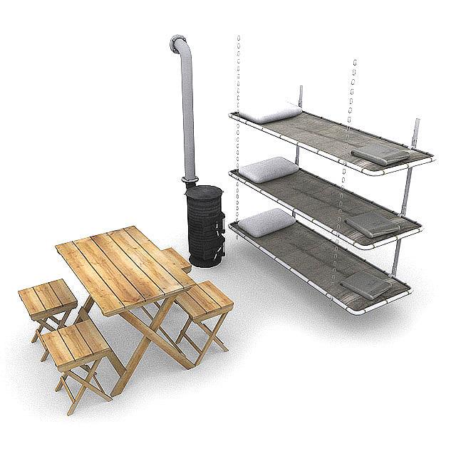 3d model german bunker items bunk